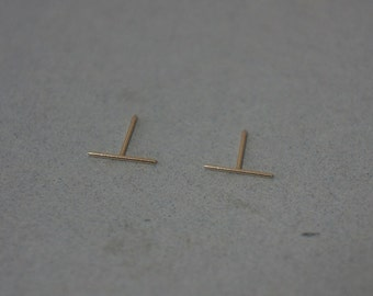 10K Solid Gold tiny thin line earrings,10mm round straight line bar - TG015