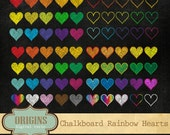 Rainbow Hearts Chalkboard Clipart Set, digital chalk clip art valentine, Valentine's Day hearts clipart, blackboard hearts instant download