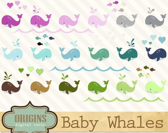 70% OFF Baby Whales Clipart, PNG and Vector Clip art Set for Baby showers, scrapbooking embellishments, instant download commercial use
