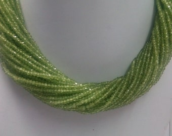"""13.5""""inches peridot Rondelle faceted Beads 3-4mm"""