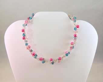 Pink and Blue Wire Crochet Necklace with Glass Pearl and Swarovski Crystals, Pink and Blue Beaded Wire Necklace, Pink Blue Silver Necklace