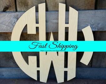 """24"""" Wooden Monogram - Unfinished Wood Monogram - Circle Monogram - Wedding Monogram - Wood Letters - Monogram Door Hanger - Nursery Monogram"""