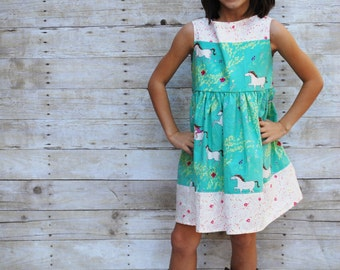 Girls dress, girls horse dress, fall dress, summer dress, cowgirl dress, 18 month, 2t, 3t, 4t, 5t, size 6, size 7