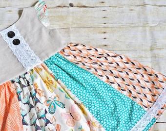 Girls dress, girls summer dress, girls butterfly dress, butterfly dress, lace dress, vintage dress