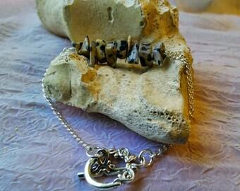 READY TO SHIP! - Dalmatian Jasper and Silver Gemstone Bracelet - Boho Bracelet, Dog Lovers, Gypsy Bracelet