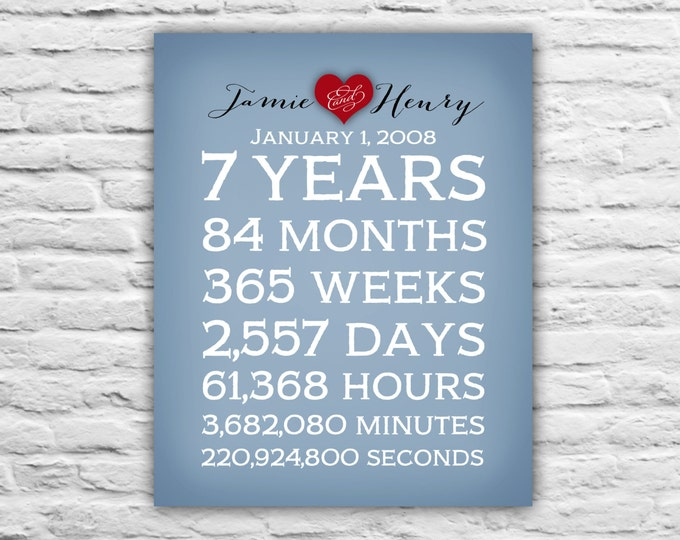 Anniversary Gift for Husband, Wife Anniversary, Spouse, Boyfriend, 25 Years, 7 Years, 3 Years, First Year, Date, Days, Minutes, Print