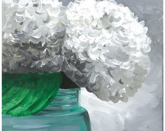 Hydrangea in mason jar print from original painting, hydrangea decor