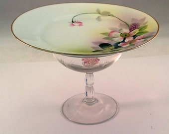Hand Painted Nippon  and crystal Serving Dish plate upcycled repurposed glass ware food display serving dish candy dish cupcake display