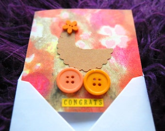 Baby News Card | New Baby Card| Handmade Card | Original Handcrafted Drawing Collage Art | PC049