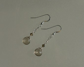 Smokey topaz earrings. Medium large smokey topaz briolette gemstones, Swarovski crystals, sterling silver
