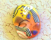 RESERVED for Linda - Orange and Yellow Translucent Polymer Clay Cabochon Pendant by Carol Wilson of PollyClayDesigns on ETSY