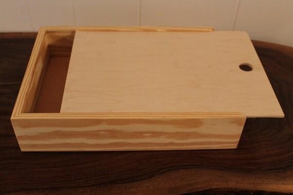 Pie Box Wooden Box Pie Style Sliding Lid Keepsakes Trinket