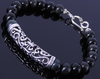 Handmade Men Women Gemstone Bracelet Black Obsidian 925 Sterling Silver Charm DiyNotion BR126