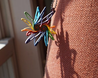 Paper Quill Necklace: Dancing Parrots in Rainbow Carnival Series