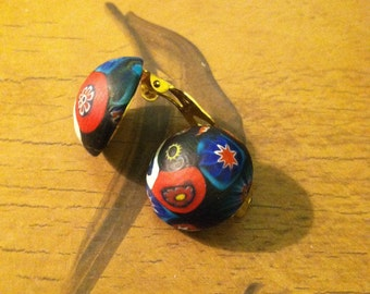 1970's Vintage Painted Wood Clip Earrings