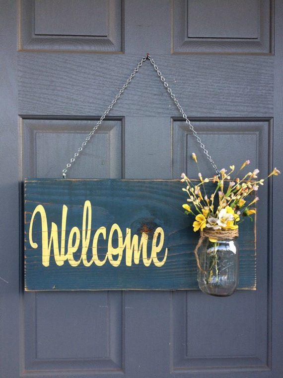 Rustic Outdoor Welcome Sign Blue/Yellow Mothers Day Gift