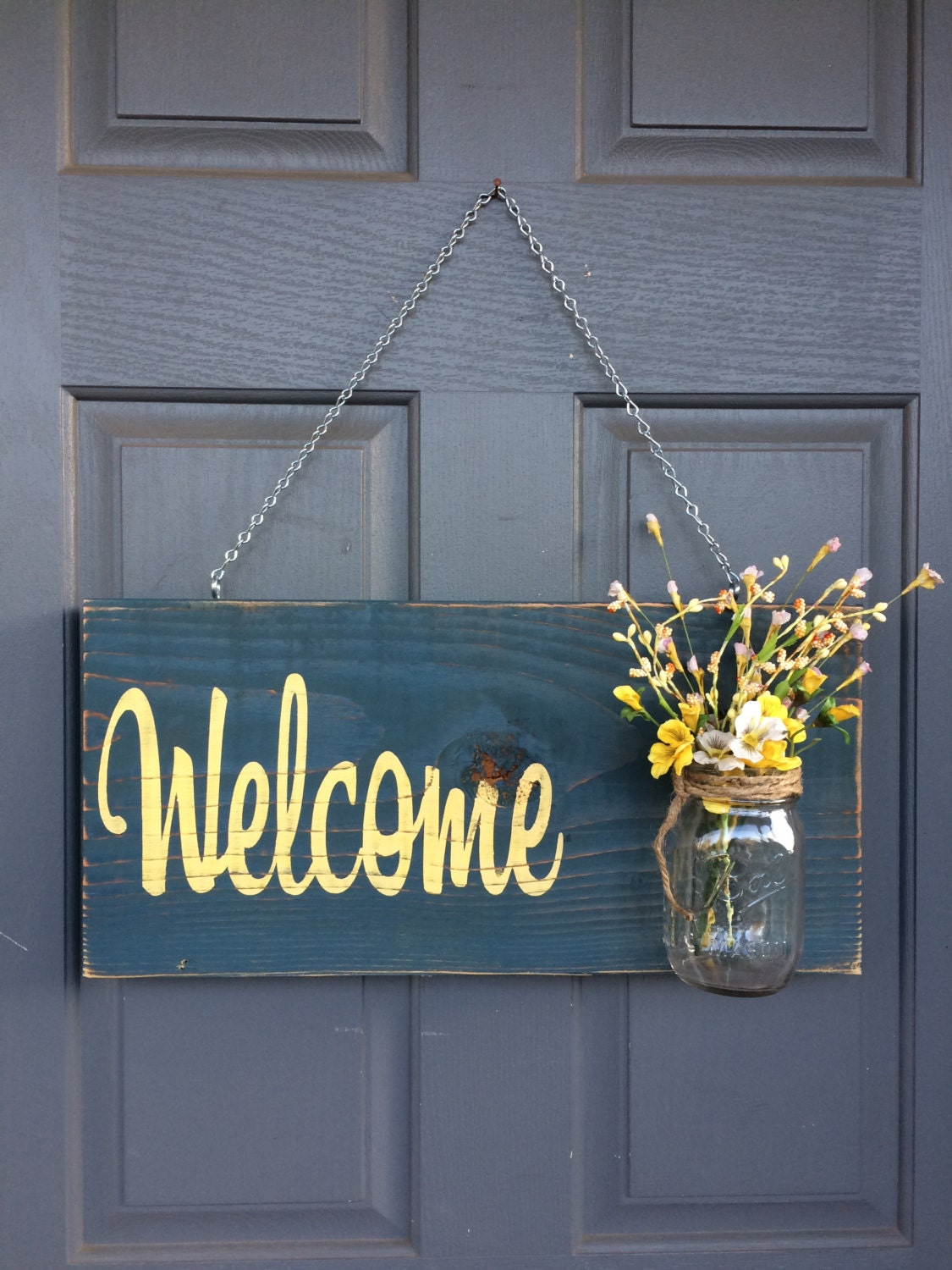 Rustic outdoor welcome sign blue yellow mothers day gift for Outdoor decorative signs