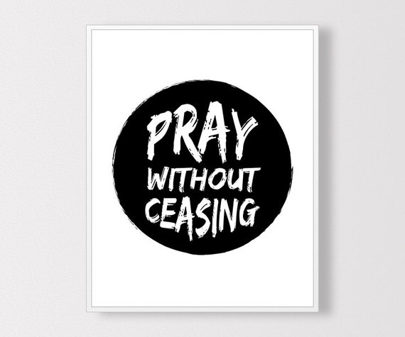 Pray without ceasing print bible verse art by claresprintables for Pray without ceasing coloring page