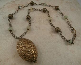 Ethnic Green Garnet Long Necklace with tibetan brass bead