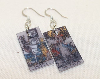 Death and the Tower Tarot Card Earrings, Tarot Jewelry, Tarot earrings