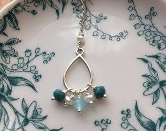 Teal Cluster Drop Necklace