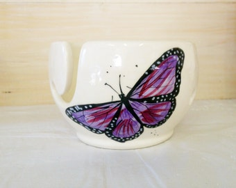 Purple Butterfly Pattern Handmade Yarn Bowl