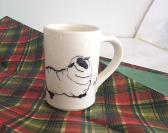Handmade Sleepy Sheep Earthenware Mug