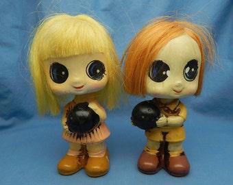 Boy & Girl Bowling Bobblehead Pair, Enesco Bowling Nodder Boy and Girl, Vintage Bowling Figurine, Enesco Bobblehead Blonde and Redhead