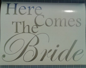 Here Comes the Bride DIY vinyl decal/sticker to make flower girl wedding isle wood sign DIY wood sign