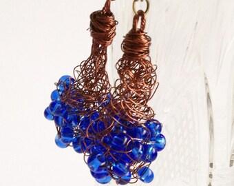Blue crochet earrings/ Copper Wire Earrings/ Dangle Earrings/ Crochet jewelry/ Crochet Wire Jewelry/ Earrings Copper Wire/ Copper Earrings