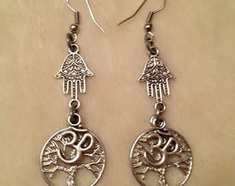 Silver Hamsa Hand Ohm Tree Of Life Earrings