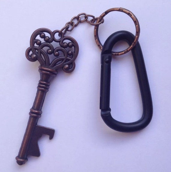 copper key bottle opener black carabiner keychain clip. Black Bedroom Furniture Sets. Home Design Ideas