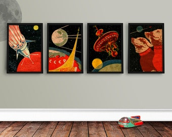 Set of 4 Soviet Space Prints