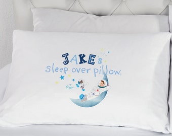 Astronaut Pillow Personalised Sleepover Pillowcase Boys Space Galaxy Pillow Case Sleep Over Bedding Staying Over Pillowcase