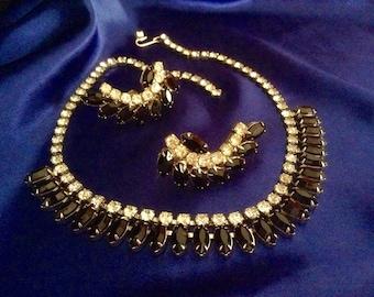 240} DRAMATIC Vintage Necklace Set Black&White Cz stones