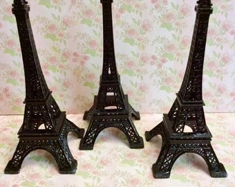 """Set of 3 Black Metal Eiffel Tower 6"""" tall- Eiffel Tower centerpiece or cake topper- price is for 3 towers"""
