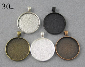 25 Pieces 30mm Round Pendant Bezel Setting, 30mm Cabochon Setting Tray, 1 1/4 inch Pendant Blanks