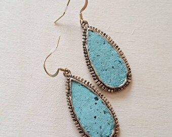 Free shipping within USA * Gorgeous Teardrop Golden Turquoise Earrings