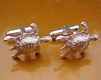 One Pair Sterling Silver Turtle Cufflinks In Presentation Box