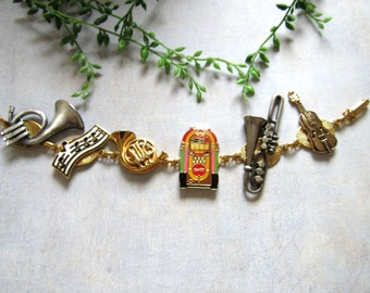 Fun Jukebox Music and Musical Instruments Re-Purposed Bracelet Or Necklace Recycled, Retro, Reclaimed