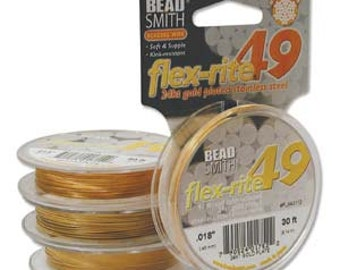 Flexrite 49 Beading Wire - 24KT Gold Plate - .024 - 30ft
