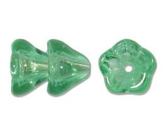 Czech Glass Flowers 6x8mm - Mint - Pack 25