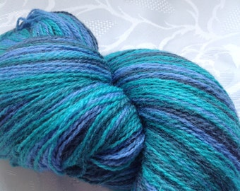SALE! Aade long Artistic (Kauni) yarn 100% wool, AQUA, smooth transition of color.skein 234 grams