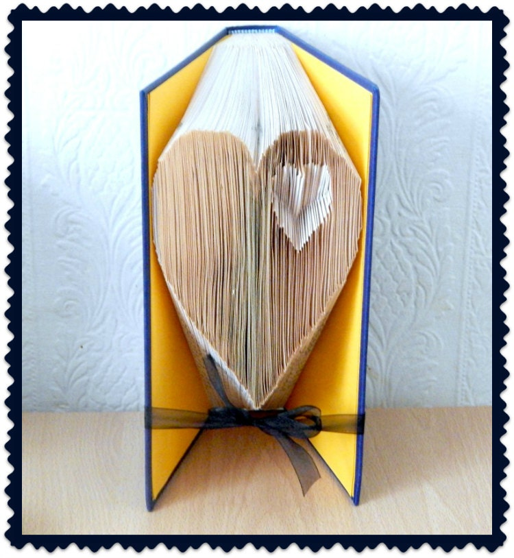 Book folding pattern heart in heart checkout our by bookartco