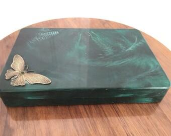 Vintage Green Plastic Jewelry Box Brass Butterfly Decoration