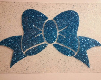 Glitter Vinyl bow, iron on decal, do it yourself, multiple sizes, and colors