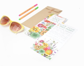 SAMPLE PACK - Tea-Length Floral Wedding Invitation Suite - Ellie Collection