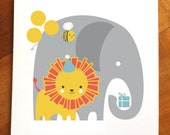 Birthday card, Party animals, elephant card, lion card, children's birthday card, animals with gifts