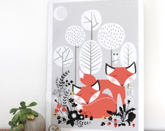 Foxes Art print, woodland fox poster, sleeping foxes, woodland animals, home decor wall print, cute fox ar