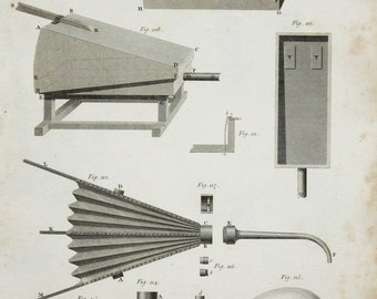 1820 Antique Engineering Print , Steel Engraving. Pneumatics, Bellows